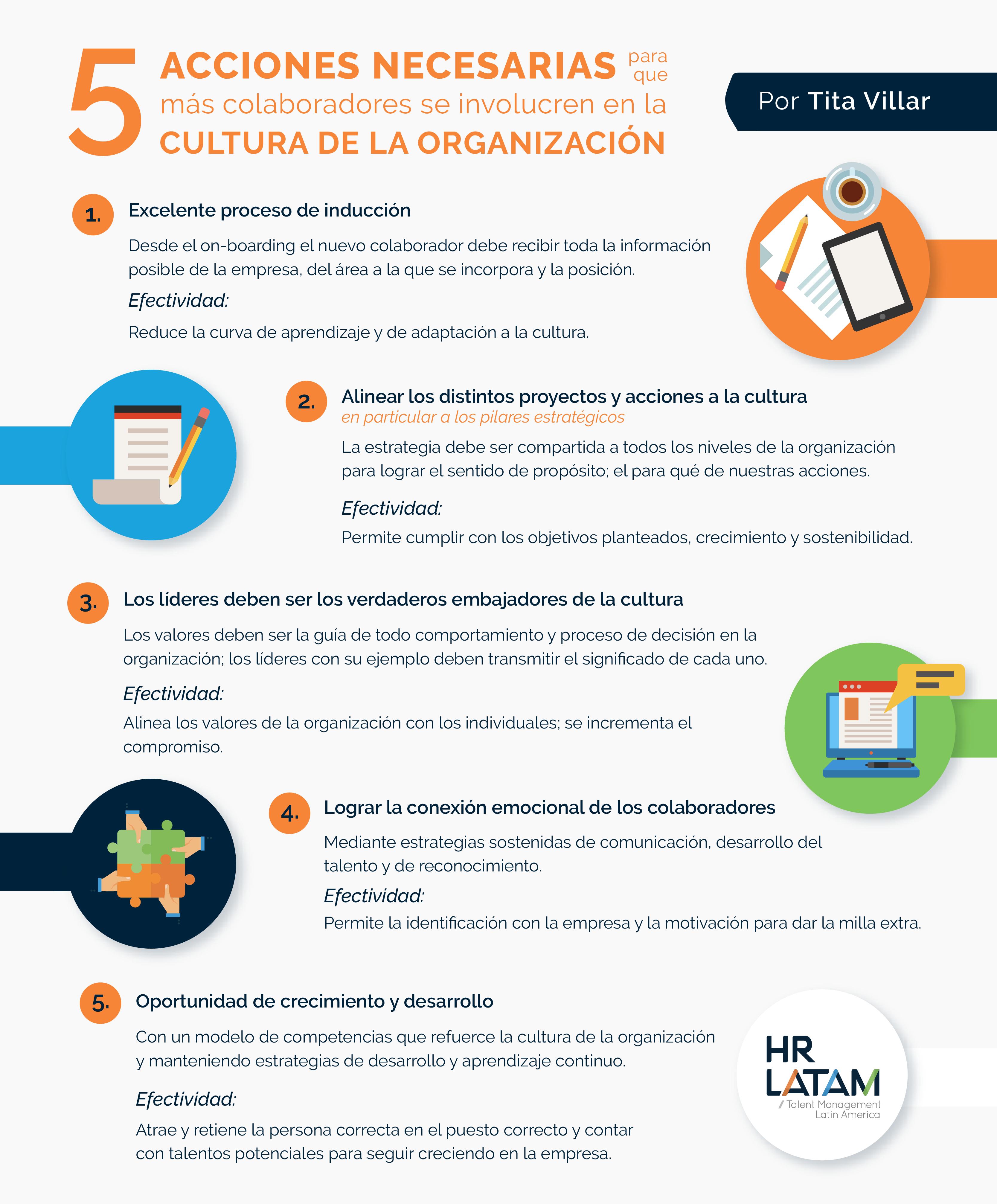 Acciones necesarias para que más colaboradores se involucren en la cultura organizacional